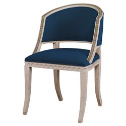 Mr. Brown Pearl Chair Regency Gilt Wave Chair - Harbor Blue Velvet