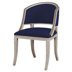 Mr. Brown Pearl Chair Regency Gilt Lapis Blue Velvet Wave Chair