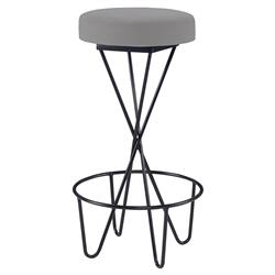 Mr. Brown Santander Modern Black Hairpin Barstool - Cannon Grey Velvet