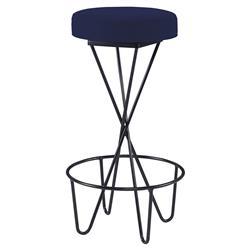 Mr. Brown Santander Modern Black Hairpin Barstool - Lapis Blue Velvet
