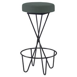 Mr. Brown Santander Modern Black Hairpin Barstool - Silver Sage Velvet