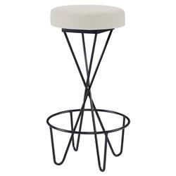 Mr. Brown Santander Modern Black Hairpin Barstool - Snow White Velvet