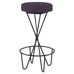 Mr. Brown Santander Modern Black Hairpin Barstool - Purple Thistle Velvet