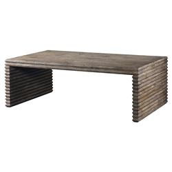 Mr. Brown Belmont Rustic Lodge Corrugated Grey Pine Rectangular Coffee Table