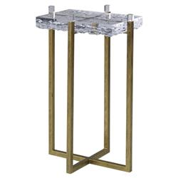 Mr. Brown Jenson Modern Classic Ice Lucite Antique Gold End Table