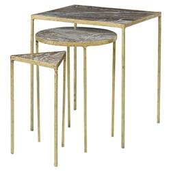 Mr. Brown Julio Regency Gold Granite Geometric Nesting Table - Set of 3