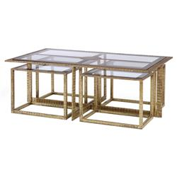 Mr. Brown Mallory Hollywood Hammered Gold Quad Nest Coffee Table