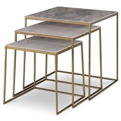 Mr. Brown Sanchez Modern Gold Marble Nesting Table - Set of 3