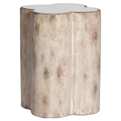 Dolan French Country Rustic Clover Mirror End Table