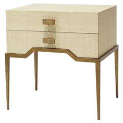 Palecek Avery Coastal Beach Antique Gold Natural Raffia End Table