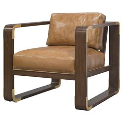 Palecek Brando Modern Classic Leather Smooth Wood Lounge Chair