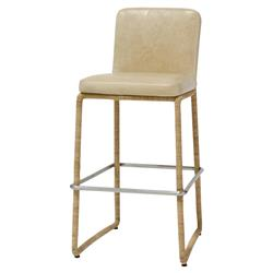 Palecek Stillwater Coastal Modern Rope Wrap Tan Leather Counter Stool