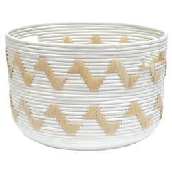 Palecek Tucson Global Bazaar White Rattan Hand Woven Basket - Small