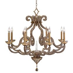 John-Richard Rani Global Textured Gold Leaf Candelabra Chandelier - 34D