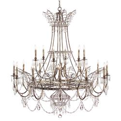 Honore French Country Aged Silver Crystal Beaded Drop Chandelier