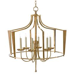 John-Richard Tudor Modern Classic Golden Brass Cage Bishop Crown Chandelier