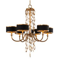John-Richard Keyes Regency Black Gold Crystal Waterfall Chandelier - 6 Light
