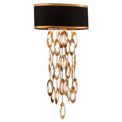 John-Richard Keyes Regency Black Gold Crystal Ring Waterfall Sconce