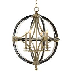 John-Richard Dorry Modern Silver Leaf Crystal Circle Caged Chandelier