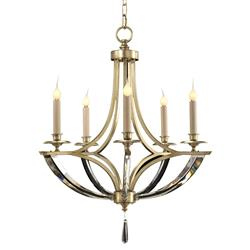 John-Richard Dorry Modern Silver Leaf Crystal Arm Chandelier - 5 Light