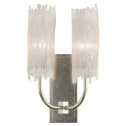 John-Richard Newcastle Coastal Natural Crystal Silver Leaf Sconce - 2 Light