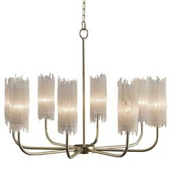John-Richard Newcastle Coastal Crystal Silver Leaf Single Tier Chandelier