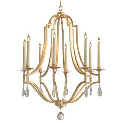 John-Richard Fleming Regency Gold Leaf Caged Crystal Drop Chandelier