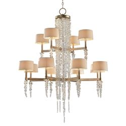 John-Richard Poole Modern Silver Leaf Crystal 2 Tier Waterfall Chandelier
