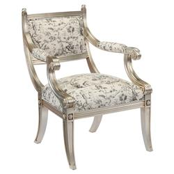 John-Richard Coline French Antique Silver Monochrome Print Arm Chair