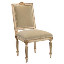 John-Richard Hortense French Antique White Brushed Gold Frame Dining Chair