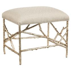 John-Richard Airlie Coastal Silver Branch Cream Herringbone Ottoman Stool