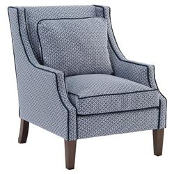 John-Richard Norwalk Modern Tile Print Navy Piped Dark Brown Arm Chair