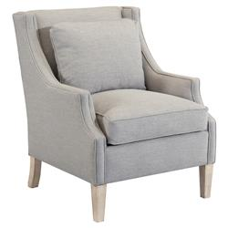 Norwalk Modern Grey Linen Whitewashed Wood Arm Chair