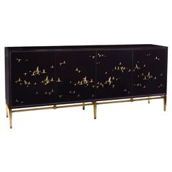John-Richard Geraldine Regency Black Glass Gold Bird Credenza Sideboard