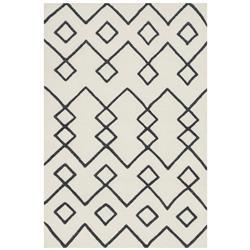 """Abena Bazaar Black Flat Weave Cream Wool Patterned Rug - 3'6""""x5'6"""""""