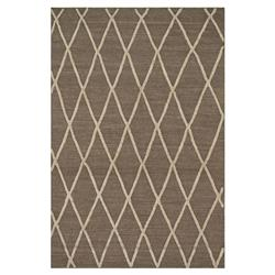 Abba Global Taupe Flat Weave Diamond Wool Rug - 3'6x5'6