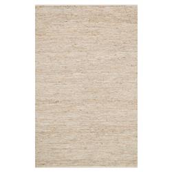 Uzo Coastal Ivory Jute Leather Woven Rug- 3'6x5'6