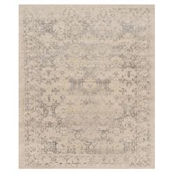 Tabia Global Pewter Antique Beige Wool Silk Rug - 5'6x8'6