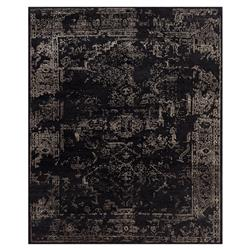 Tash Global Charcoal Antique Traditional Wool Silk Rug - 5'6x8'6