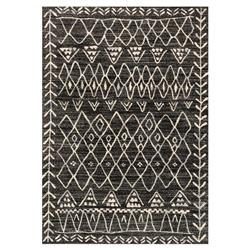 Noni Global Bazaar Ivory Black Graphic Turkish Rug - 3'10x5'7