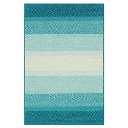 Zadie Coastal Beach Stripe Blue Aqua Outdoor Rug - Sample