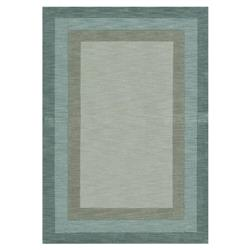 "Kesi Modern Classic Blue Fern Border Wool Patterned Rug - 3'6""x5'6 """