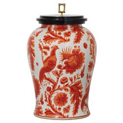 Adrial Global Orange Floral Bird Gold Bamboo Finial Porcelain Jar