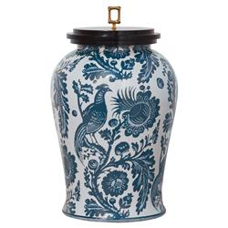 Adrial Global Blue Floral Bird Gold Bamboo Finial Porcelain Jar