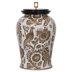 Adrial Global Brown Floral Bird Gold Bamboo Finial Porcelain Jar