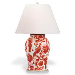 Adrial Global Orange Floral Bird Porcelain Table Lamp