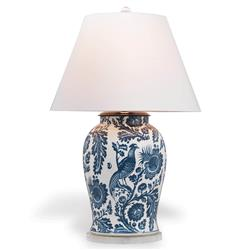 Adrial Global Indigo Blue Floral Bird Porcelain Table Lamp
