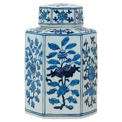 Brione Global Bazaar Blue Floral Hexagonal Jar - 11H