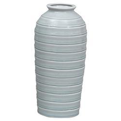 Marena Coastal Beach Soft Blue Horizontal Stripe Vase - 12H