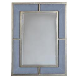 Guster Modern Classic Blue Upholstered Silver Leaf Wall Mirror